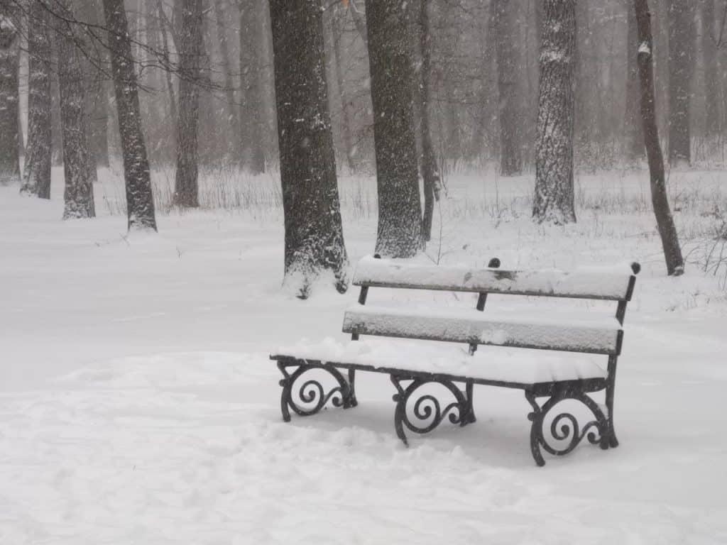 Partnerschaft: Sitzbank im Schnee