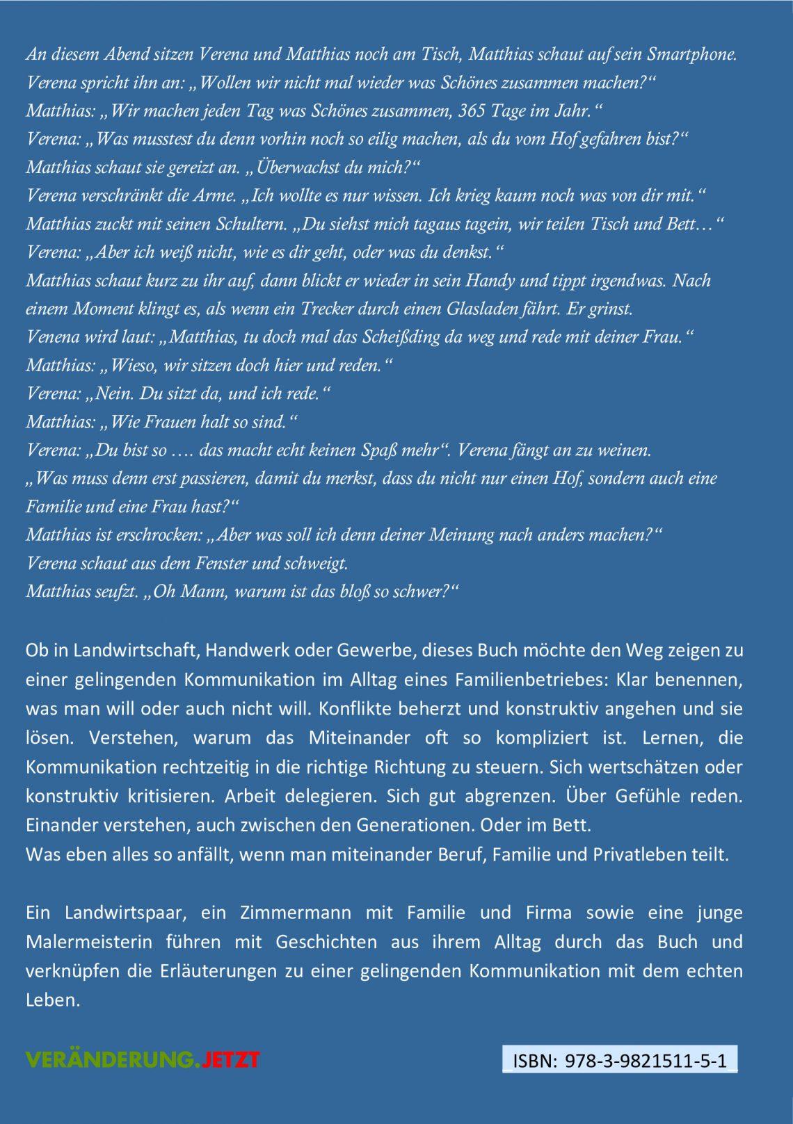 Rückseite: Glück und Gelingen in Familienbetrieb Band1: Kommunikation und Konfliktlösung