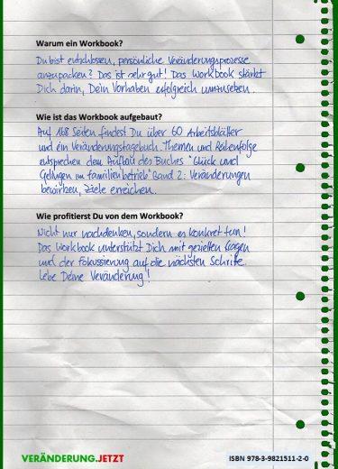 Rückseite: Workbook zu Glück und Gelingen im Familienbetrieb Band 2: Veränderungen bewirken Ziele erreichen